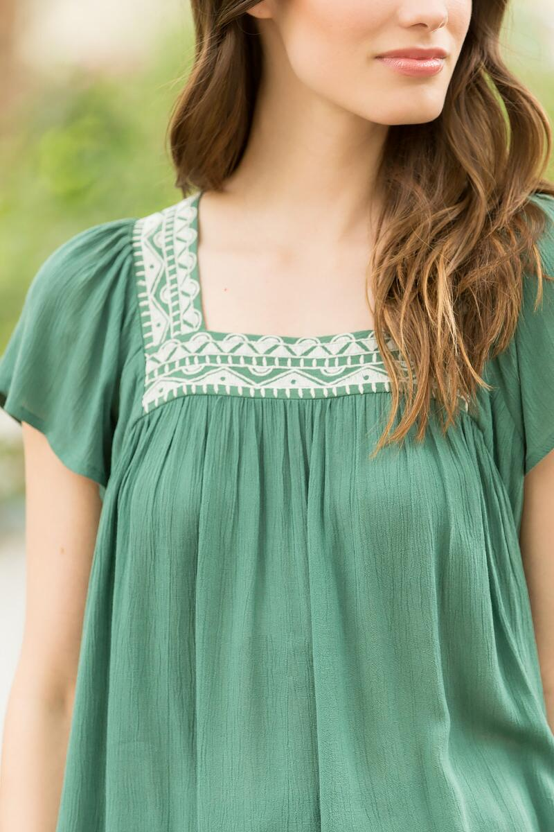 Wylie Embroidered Blouse-  olv-clalternate