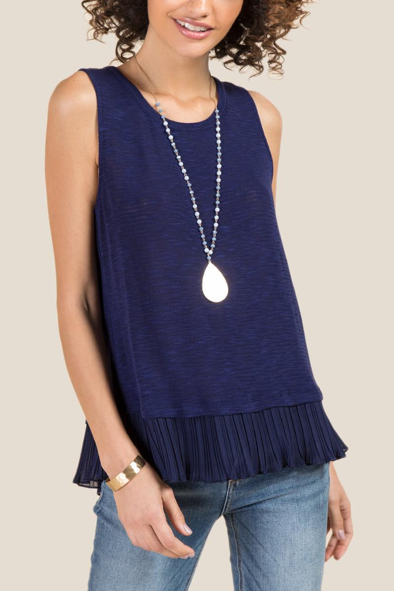 Aiden Pleated Chiffon Sleeveless Tank-  navy-cl