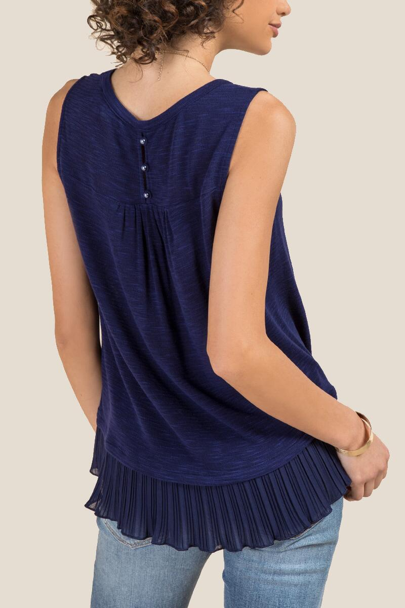 Aiden Pleated Chiffon Sleeveless Tank-  navy-clback