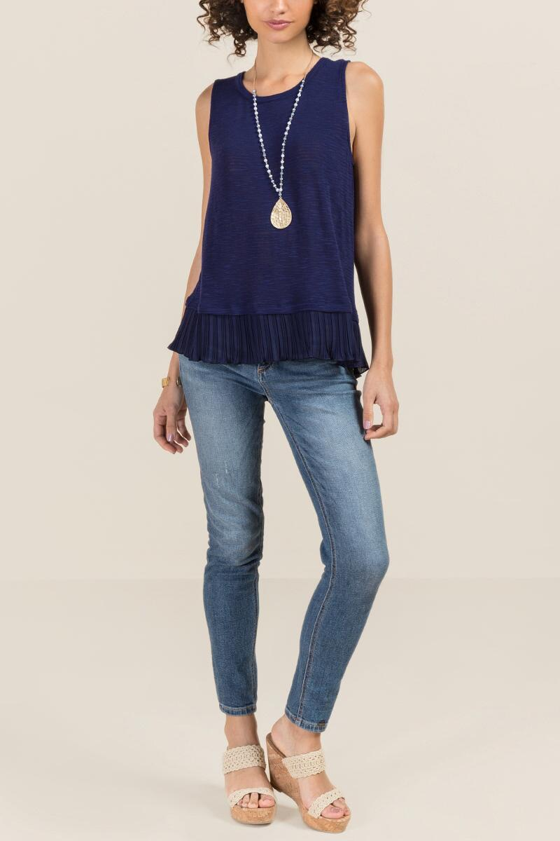 Aiden Pleated Chiffon Sleeveless Tank-  navy-clmodel
