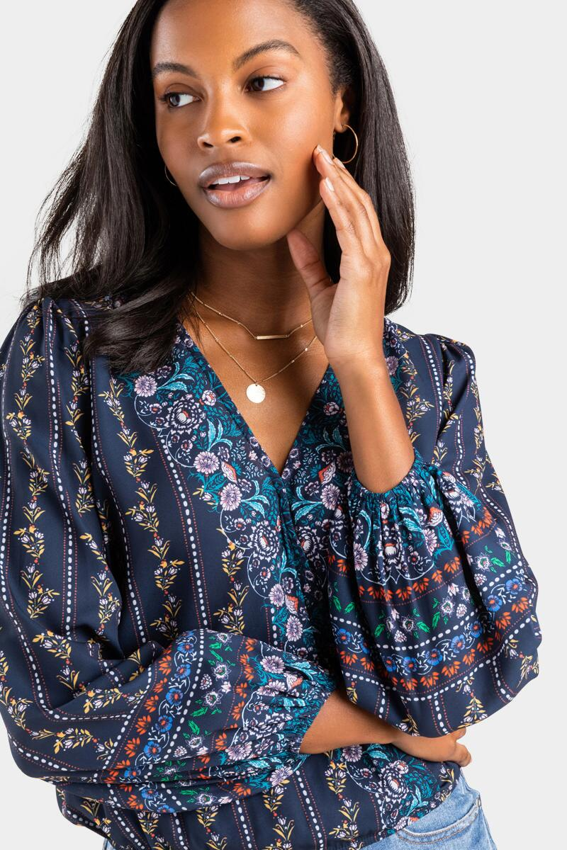Creed Floral Border Print Blouse