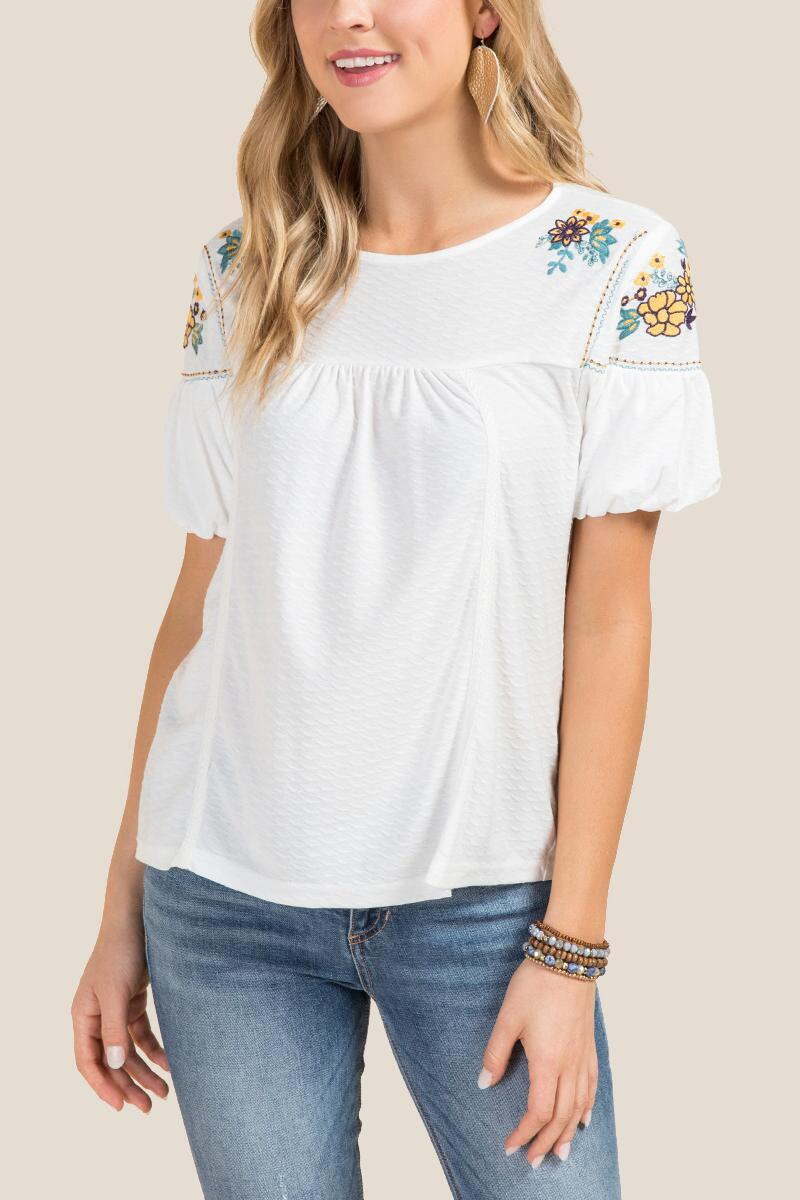Rhys Floral Embroidered Short Sleeve Top-  white-cl