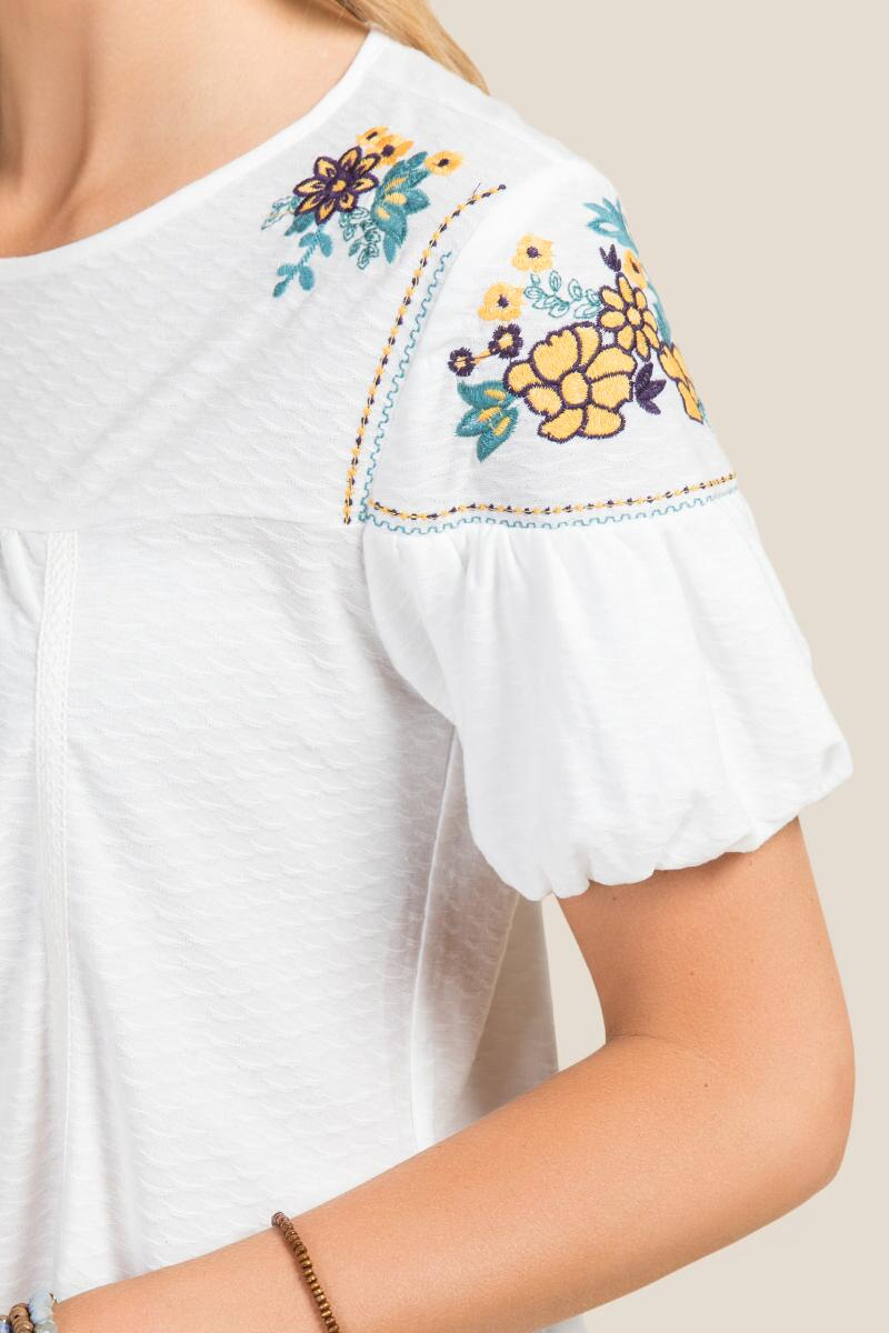 Rhys Floral Embroidered Short Sleeve Top-  white-clalternate