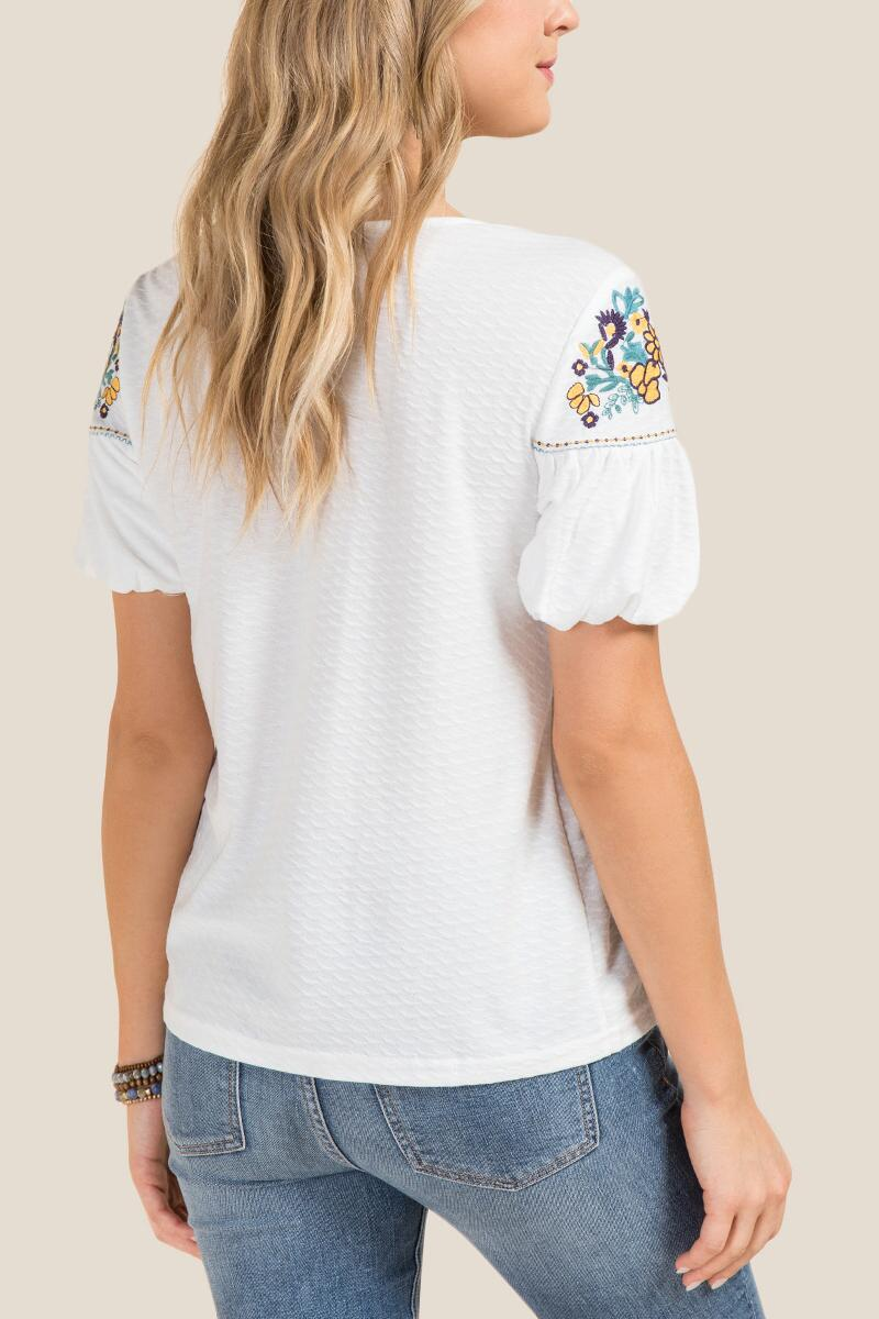 Rhys Floral Embroidered Short Sleeve Top-  white-clback