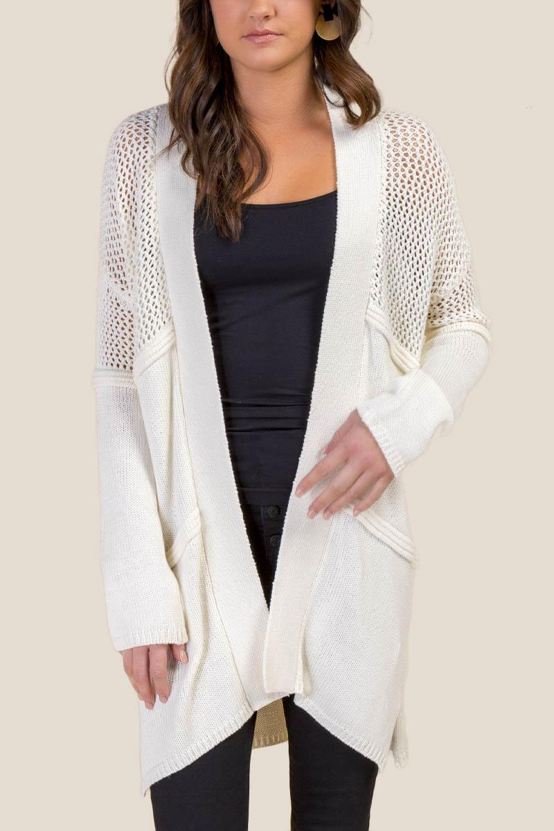 Claudia Pointelle Knit Cardigan-  ivry-cl