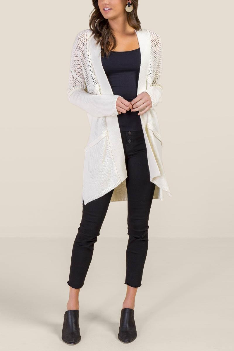 Claudia Pointelle Knit Cardigan-  ivry-cl4