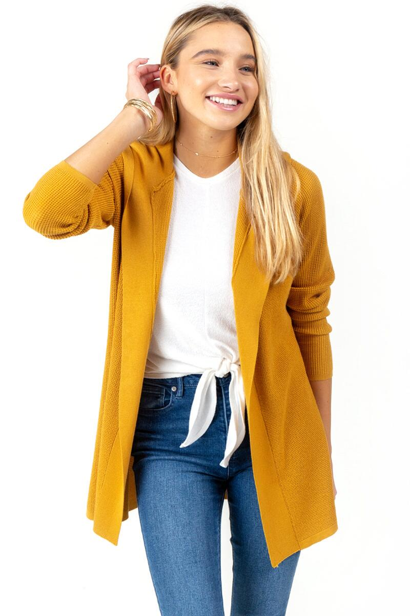 Kara Hooded Knit Cardigan-Marigold
