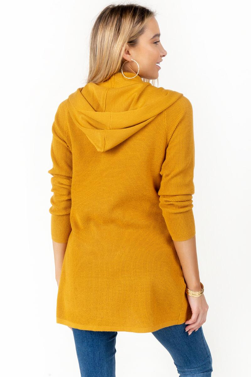 Kara Hooded Knit Cardigan-Marigold 2
