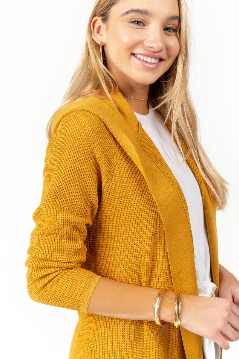 Kara Hooded Knit Cardigan-Marigold 3