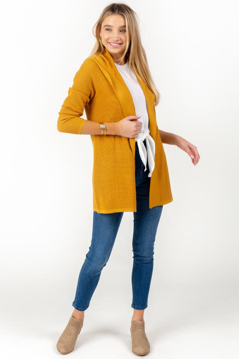 Kara Hooded Knit Cardigan-Marigold 4