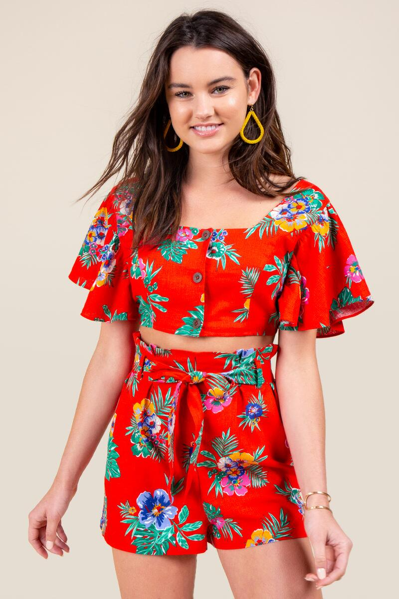 Melissa Tropical Crop Top- Bright Red 4