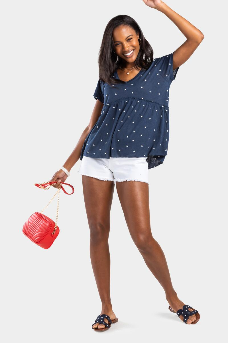 Pennie Heart Embroidered Top- Navy 2