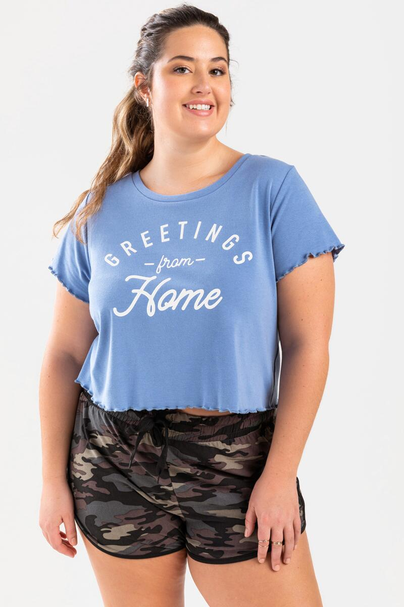 Greetings From Home Cropped Tee- Light Blue