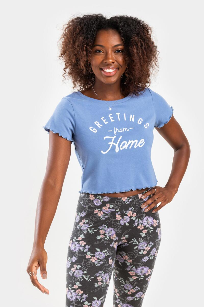 Greetings From Home Cropped Tee- Light Blue 2