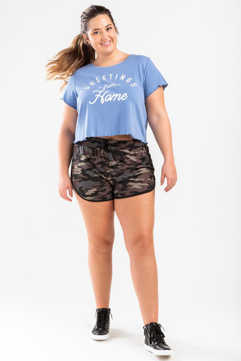 Greetings From Home Cropped Tee- Light Blue 3