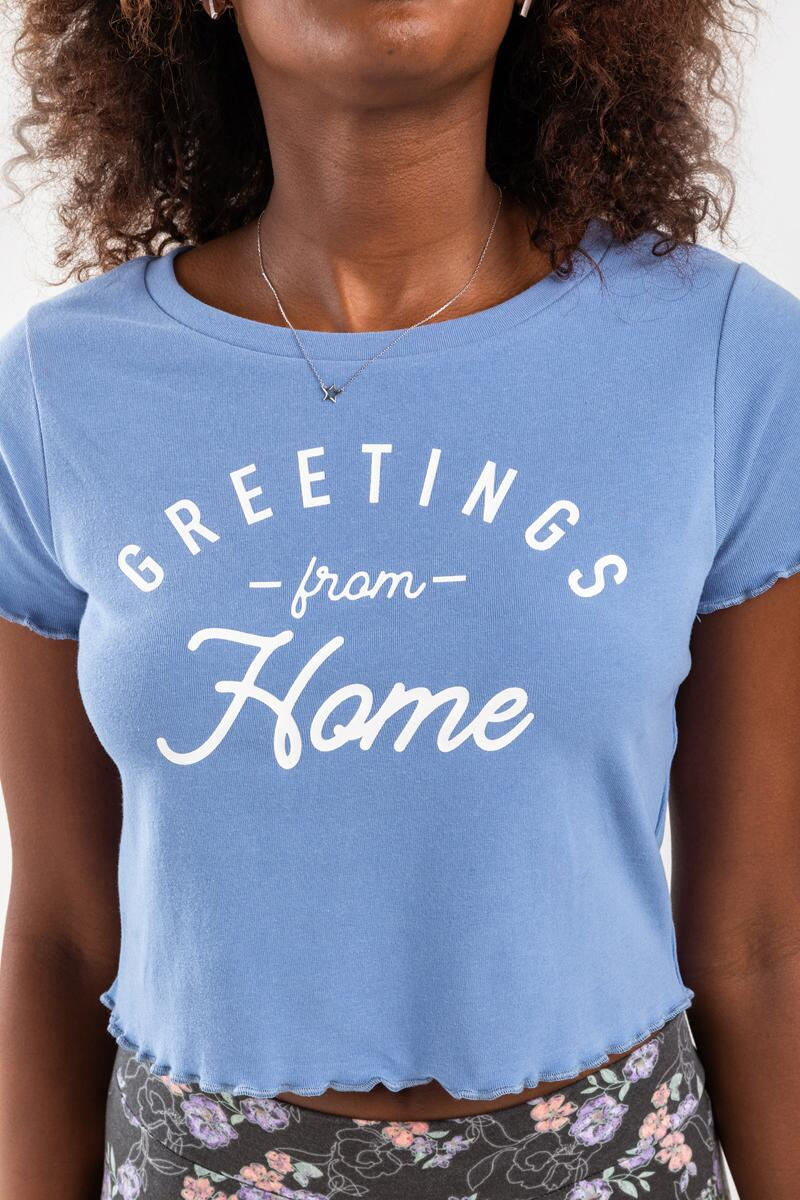 Greetings From Home Cropped Tee- Light Blue 5