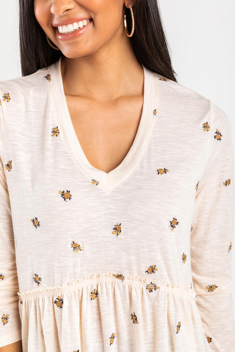Cora Floral Babydoll Blouse-Ivory 4