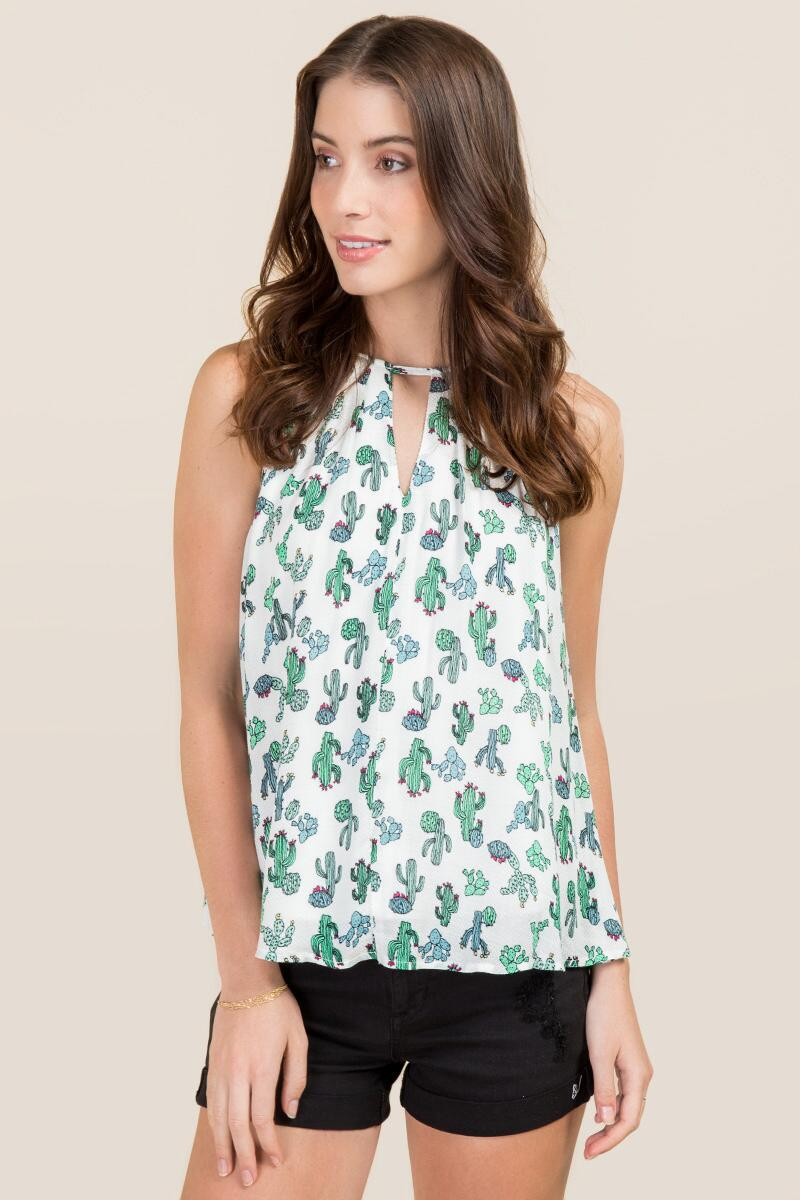 Chenille High Neck Cactus Tank-  grn-cl