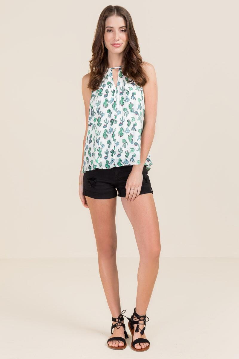 Chenille High Neck Cactus Tank-  grn-clmodel