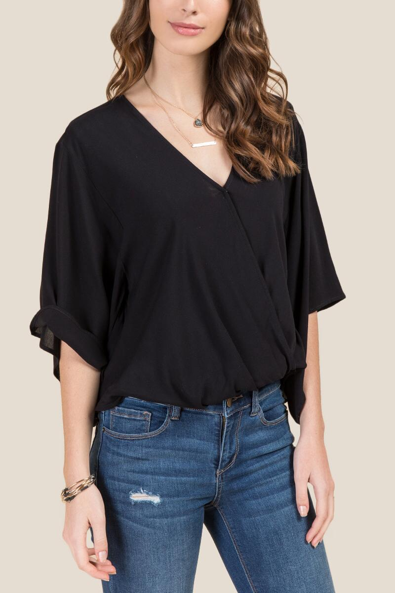 Ellen Short Sleeve Draped Surplus Blouse