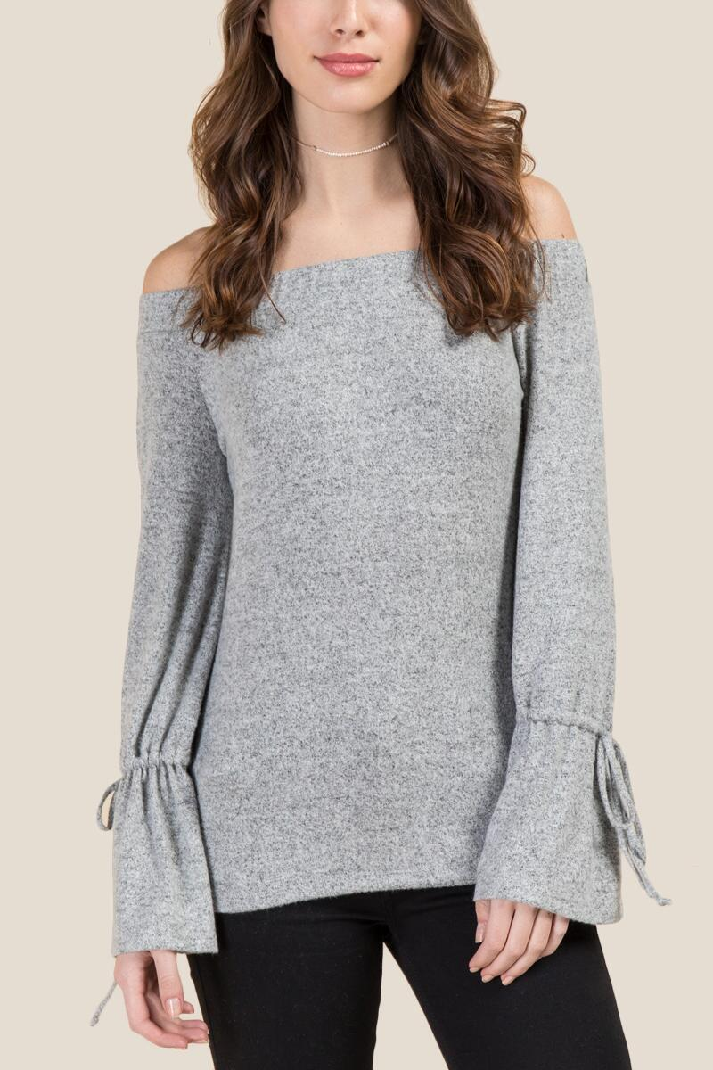 Kori Off The Shoulder Bell Sleeve Hacci Top