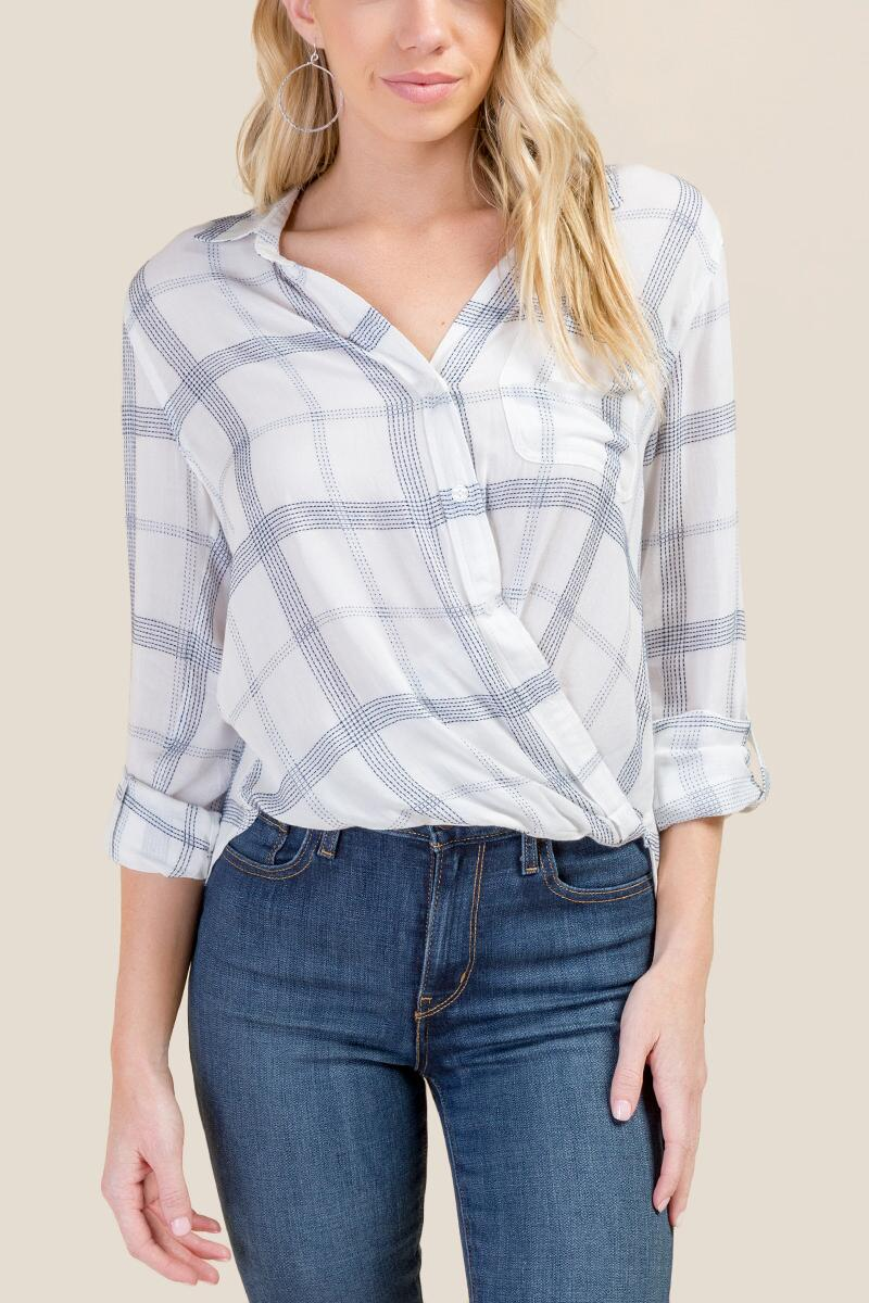 Clara Faux Wrap Button Down Top
