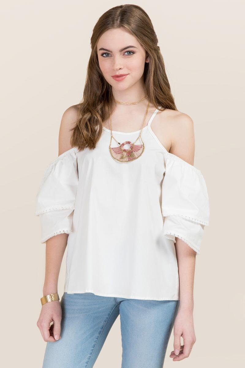 Denise Tiered Cold Shoulder Poplin Top
