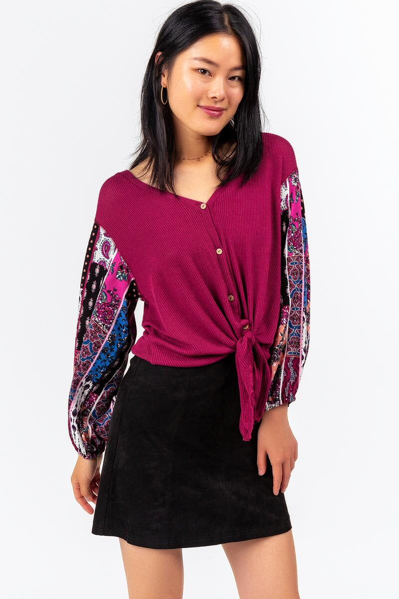 Odetta Contrast Sleeve Blouse-  burg-cl