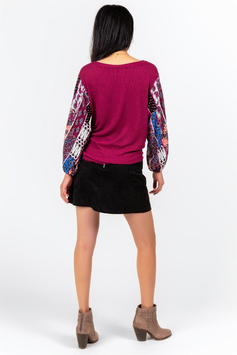 Odetta Contrast Sleeve Blouse-  burg-cl2
