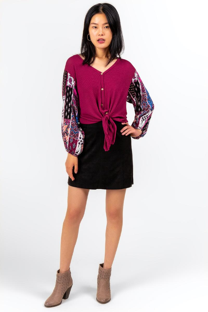 Odetta Contrast Sleeve Blouse-  burg-cl3