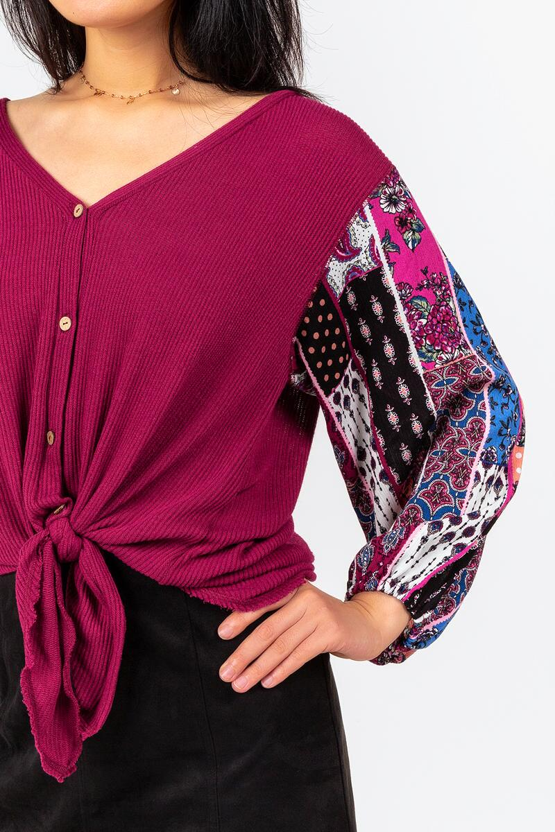 Odetta Contrast Sleeve Blouse-  burg-cl4