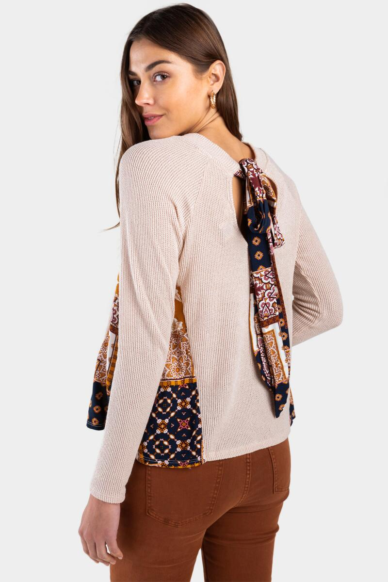 Cienna Print Scarf Back Top- Taupe 4