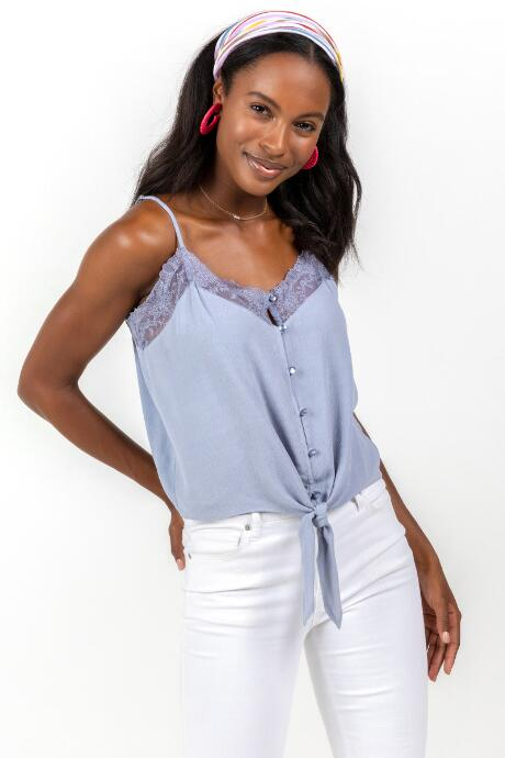 Cortney Lace Trim Button Tank Top