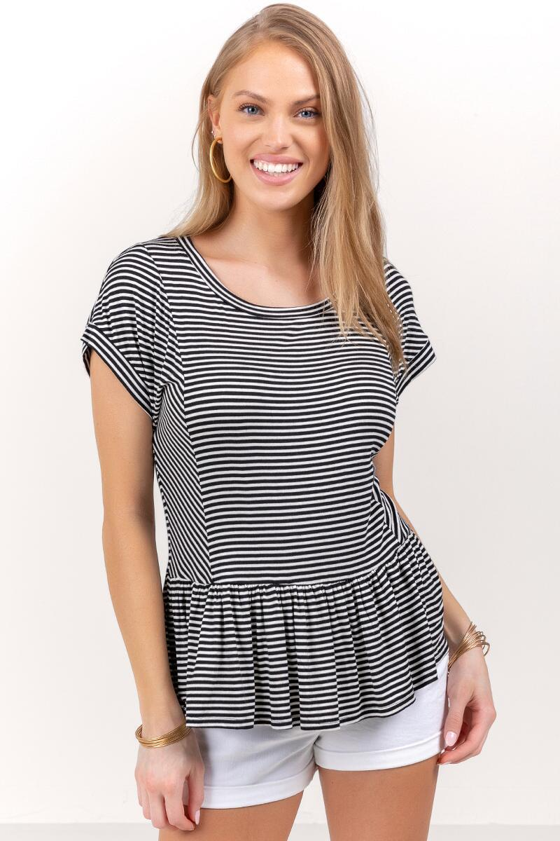 Dominique Striped Peplum Top-Black/White