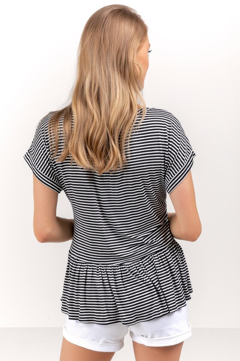 Dominique Striped Peplum Top-Black/White 2