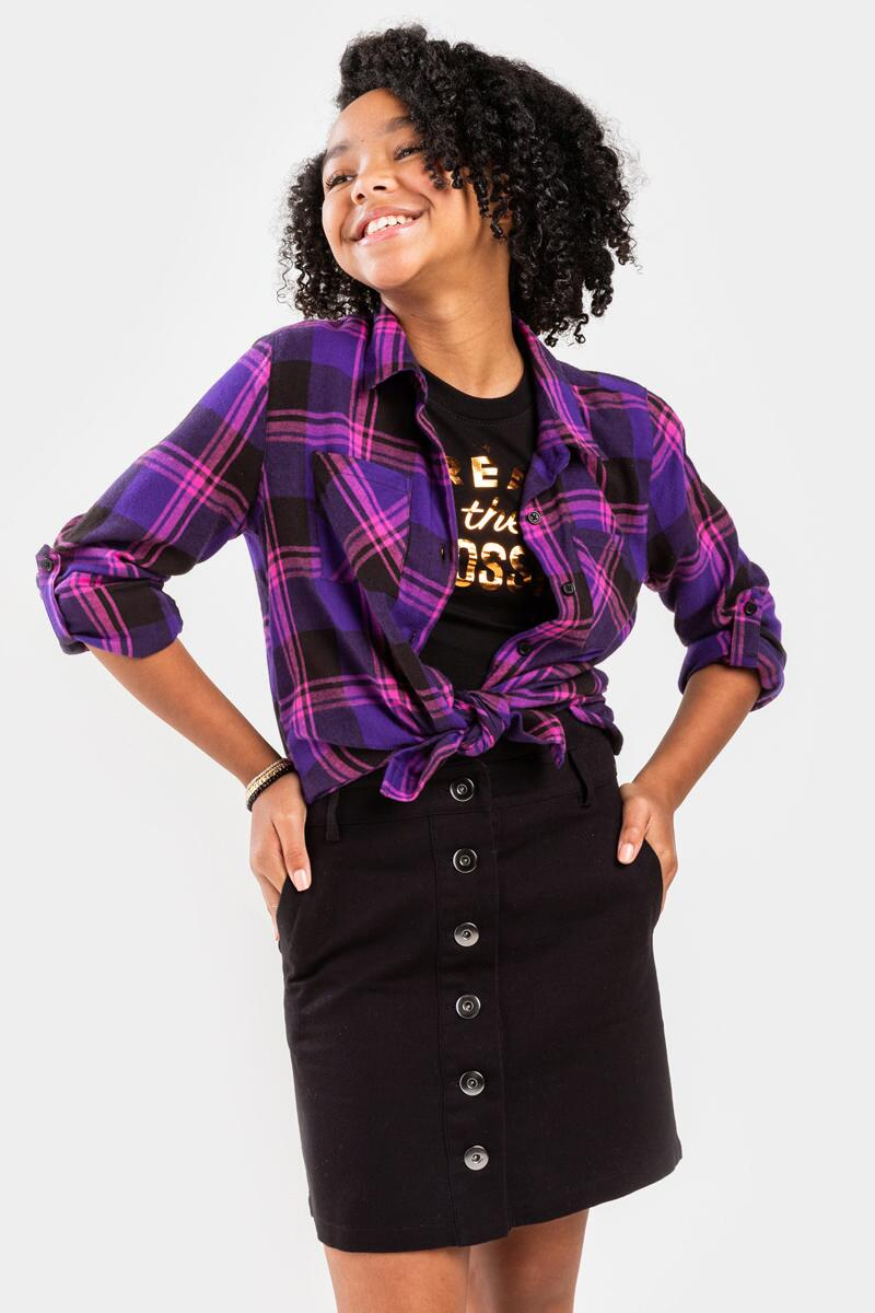 franki Plaid Front Pocket Button Down Top for Girls