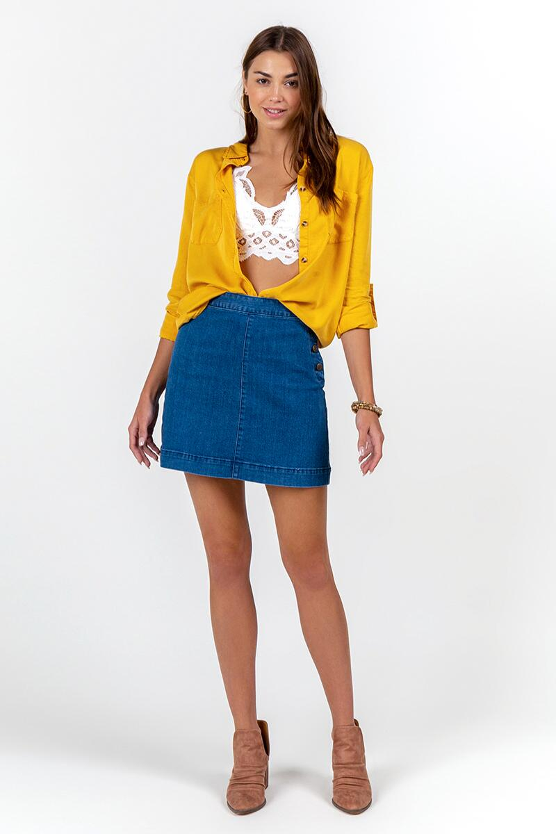 Freddie Double Pocket Button Down Top-Marigold