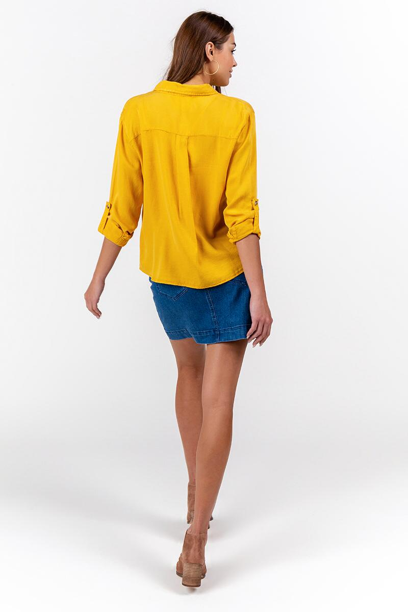 Freddie Double Pocket Button Down Top-Marigold 2