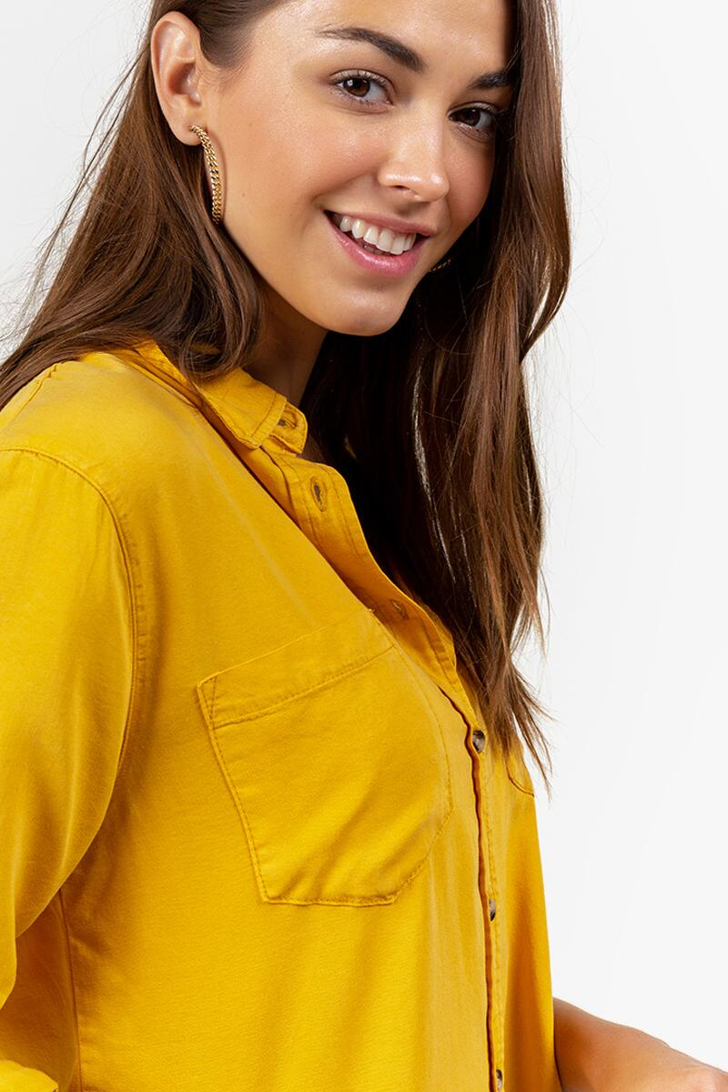 Freddie Double Pocket Button Down Top-Marigold 4