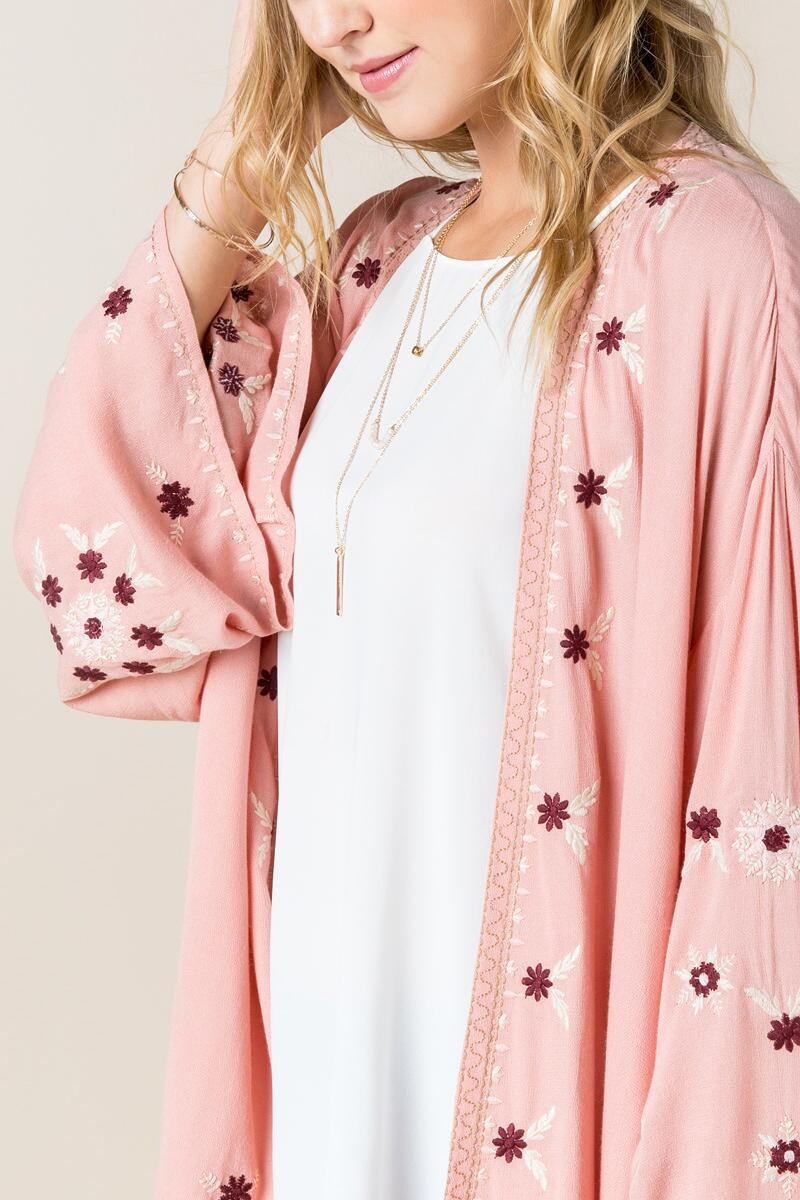 Christley Embroidered Kimono-  rose-clalternate