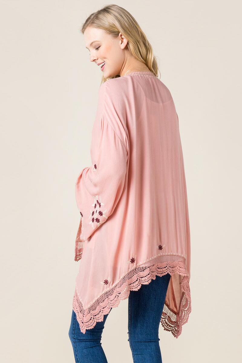 Christley Embroidered Kimono-  rose-clback