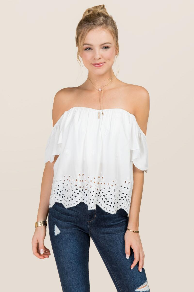 Steph Off The Shoulder Embroidered Eyelet Top-  white-cl