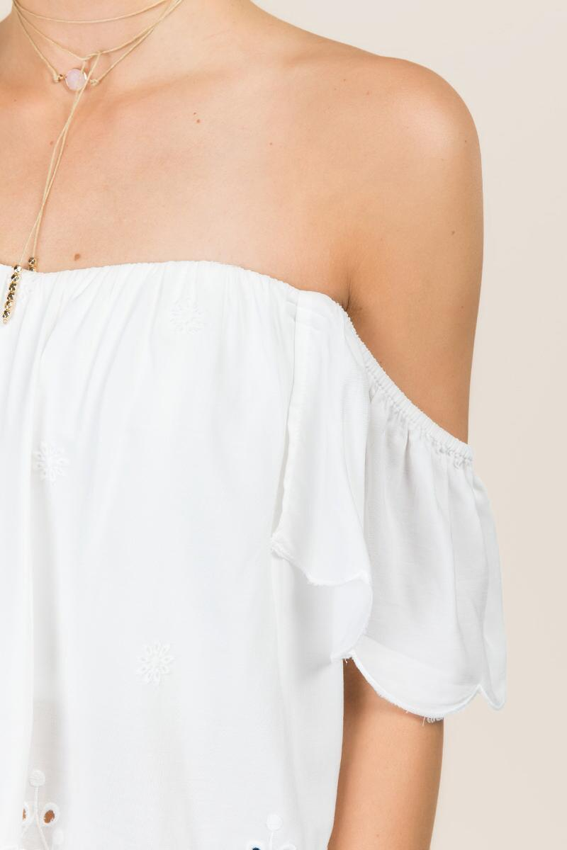 Steph Off The Shoulder Embroidered Eyelet Top-  white-clalternate