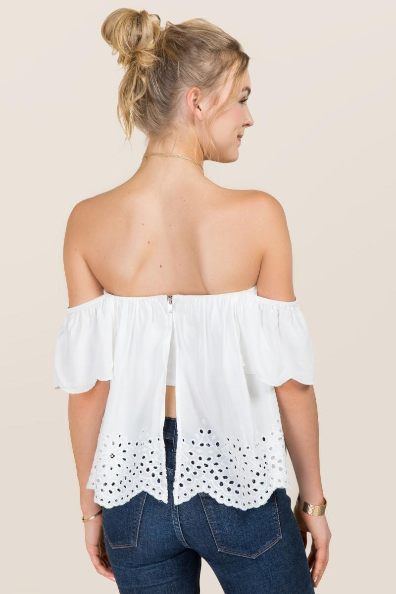 Steph Off The Shoulder Embroidered Eyelet Top-  white-clback