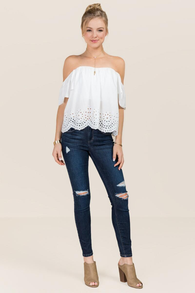 Steph Off The Shoulder Embroidered Eyelet Top-  white-clmodel