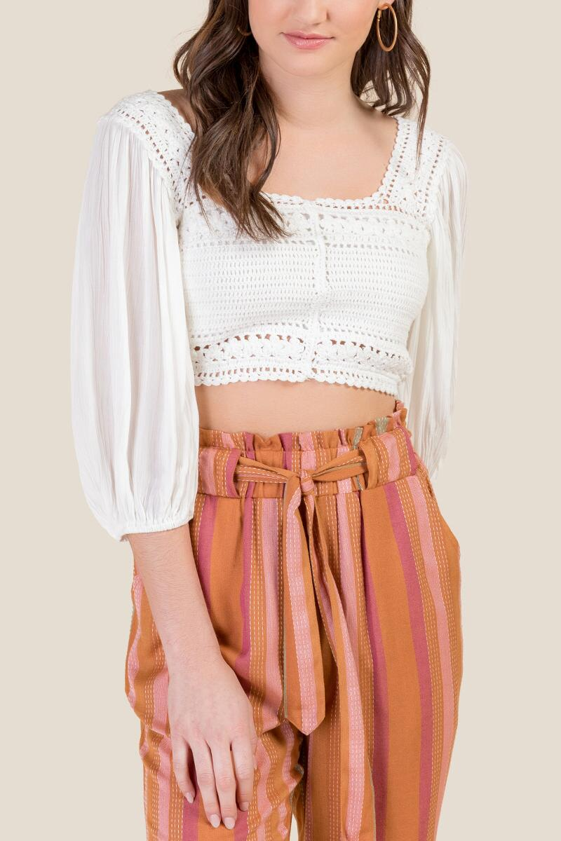 Lena Crochet Cropped Blouse-  ivry-cl