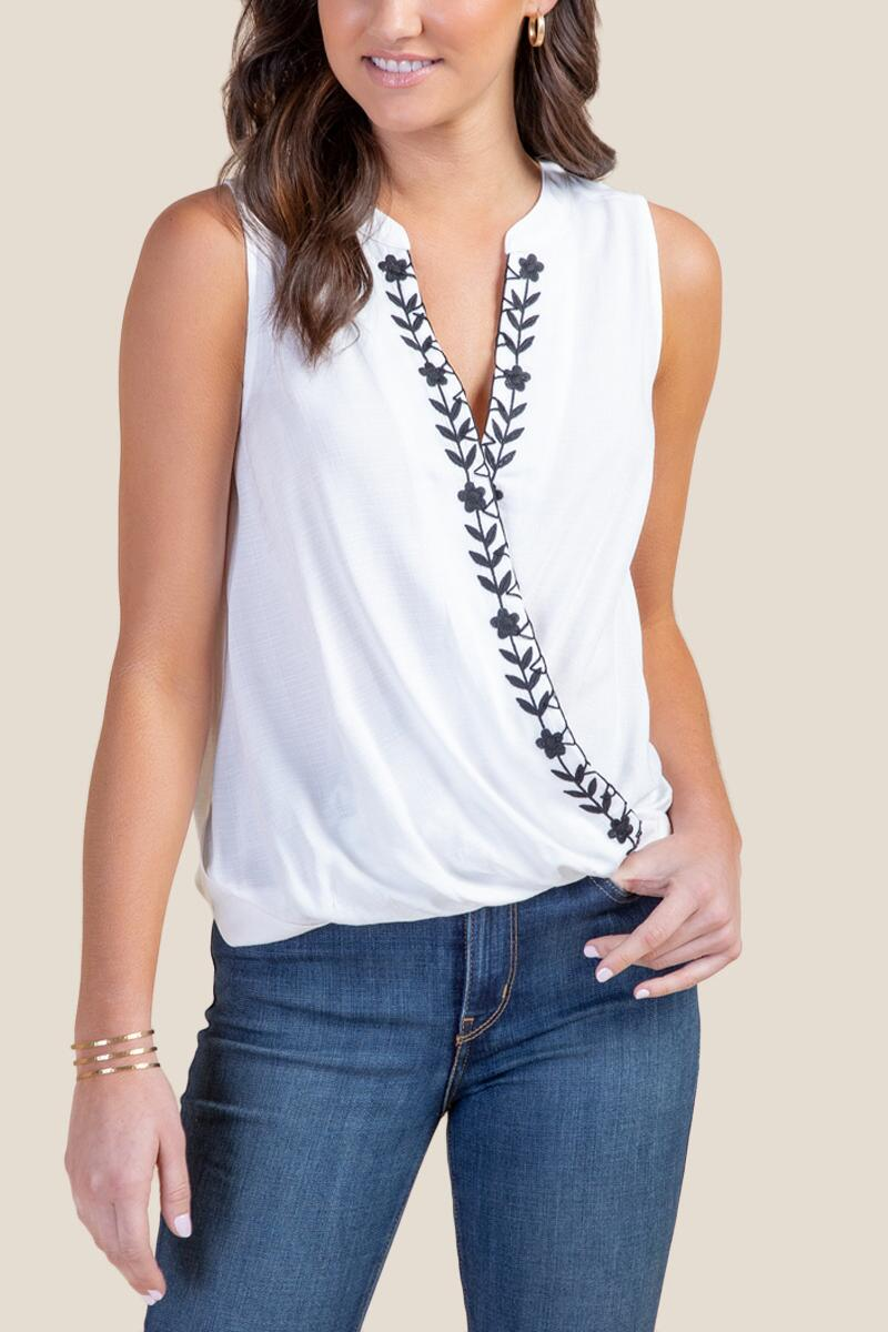 Holly Embroidered Tank Top-  white-cl