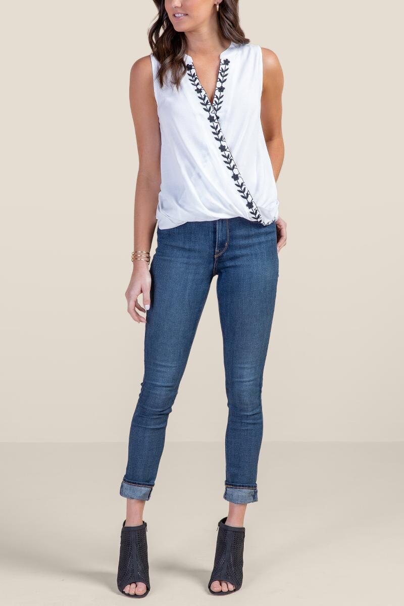 Holly Embroidered Tank Top-  white-cl4
