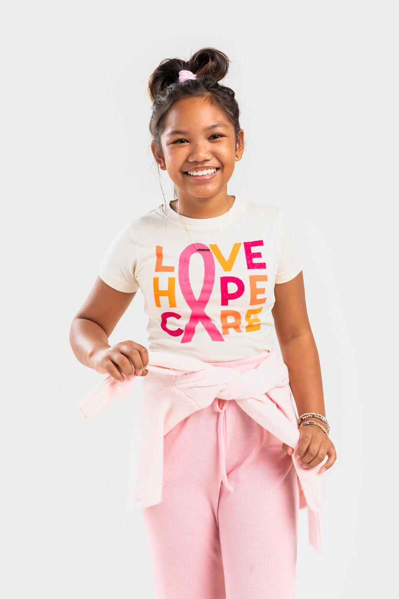 franki LOVE HOPE CARE Breast Cancer Awareness Tee for Girls- White