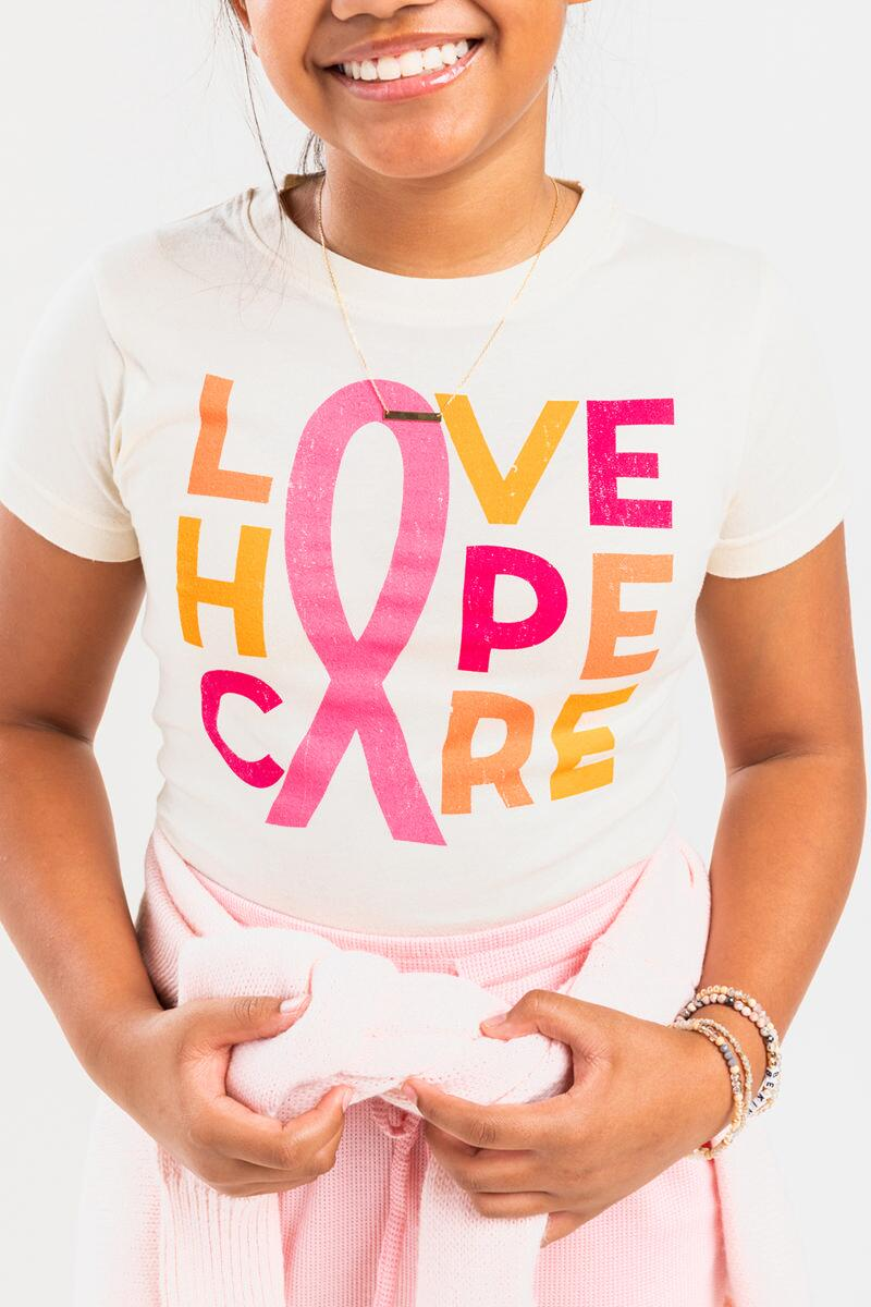 franki LOVE HOPE CARE Breast Cancer Awareness Tee for Girls- White 4